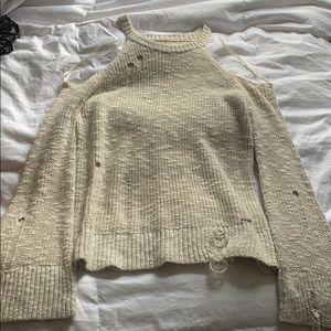 Hollister: distressed cold shoulder sweater